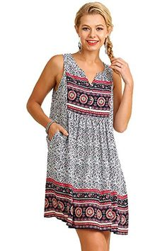 Umgee Womens Sleeveless Print Dress Lace Vneckline Symmetrical Hemline Tunic M Pink Mix *** Details can be found by clicking on the image.