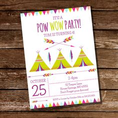 Pow Wow Party  for a girl or boy! #teepee #arrows #tribal