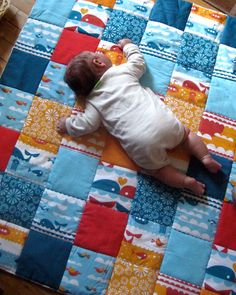 organic baby playmat quilted nautical / XL handmade unisex ocean blue eco friendly pad quilt