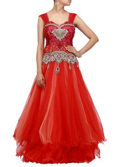 Red color bridal gown – Panache Haute Couture http://panachehautecouture.co.in/collections/gowns/products/red-color-bridal-gown