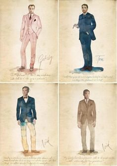 The Great Gatsby (2013) | Designer Catherine Martin's costume sketches for Gatsby's leading men: Leonardo DiCaprio (Gatsby), Joel Edgerton (Tom Buchanan) and Tobey Maguire (Nick Carraway).