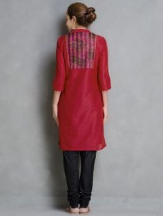 Red Kantha Embroidered Yoke & Sequin Detailed Cotton-Silk Kurta by Firroza