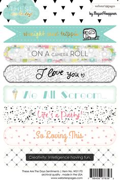 Websters Pages - These Are The Days Collection - Cardstock Stickers - Sentiments at Scrapbook.com
