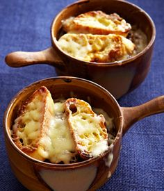 Slow Cooker French Onion Soup (Spanish onions, evoo, butter, brown sugar, kosher salt, beef stock, dry sherry, fresh thyme, baguette, shredded Gruyere)