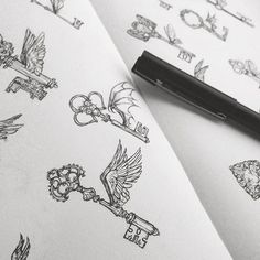 Flying keys Even my pen has wings drawing ink ha Tattoo Video, Hp Tattoo, Key Tattoos, Sleeve Tattoos, Harry Potter Tattoos Sleeve, Tattoo Crown, Tatoos, Garter Tattoos, Rosary Tattoos