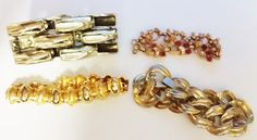 Lot of 4 Goldtone Chunky Link Bracelets for Repurpose by TheSparklingGallery on Etsy