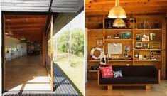 Стеклянный фасад обращенный к реке может складываться, тогда вся жилая комната превращается в крытую террасу. Естественно, что диван повернут в сторону реки.  (современный дом,пляжный дом,архитектура,дизайн,экстерьер,интерьер,дизайн интерьера,мебель,гостиная,дизайн гостиной,интерьер гостиной,мебель для гостиной,на открытом воздухе,патио,балкон,терраса) .