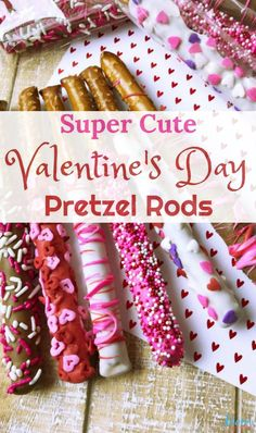 Super Cute Valentine's Day Pretzel Rods - Super Cute Valentine's Day Pretzel Rods - Valentine Desserts, Valentines Day Cookies, Roses Valentine, Valentines Baking, Valentine Treats, Valentines Day Party, Valentine Day Crafts, Holiday Treats, Valentines Recipes