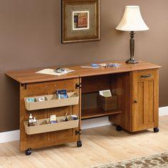 NEW Sauder Sewing & Craft Table Drop Leaf Shelves Storage Bins Cabinets PINE