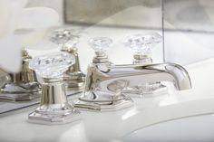 For Loft Basin Faucet Set, Clear Crystal Handles in Nickel SilverRecalling the grand opulence of 1920s Park Avenue, For Loft Crystal Faucet Collection by Michael S Smith adds a note of Art Deco classicism to the bath. European clear crystal and black crystal handles have exquisite precision-cut facets that capture and reflect light Learn More