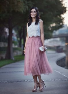 Millie Lace Top in Off White and Leighton Tulle Midi Skirt in English Dusty Rose. Love Tanya Bridesmaid Dresses and Separates offer truly wear again styles.