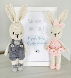 AMIGURUMIS Crochet Baby Toys, Easter Crochet, Crochet Animals, Crochet Bunny Pattern, Crochet Rabbit, Knitted Bunnies, Knitted Bags, Amigurumi Patterns, Crochet Dolls