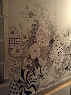 Sharpie Floral Mural Art   Mural Art   Pinterest   Mural ...