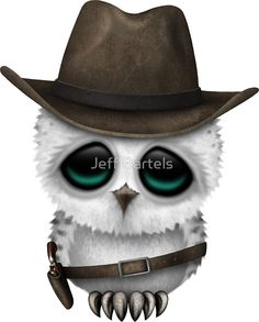 Cute Baby Snowy Owl Cowboy with Stars | Jeff Bartels