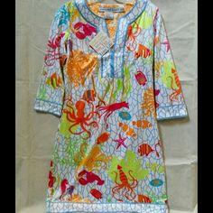 Gretchen Scott Slit-Neck Tunic Dress Gretchen Scott ¾ Sleeve, Slit-Neck Tunic Dress, NWT, color-Sea Life, various sizes.  So cute for Spring/Summer! Gretchen Scott Dresses