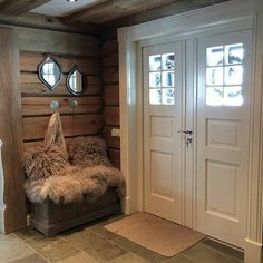 Cabin Chic, Cozy Cabin, Log Cabin Living, Cottage Porch, Interior Stairs, Cabin Interiors, Cabins And Cottages, The Ranch, Log Homes