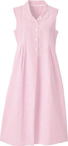 Sleeveless Seersucker Nightgown With Button Placket