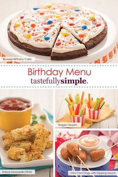 A carnival-themed birthday party menu perfect for any age! Holiday Appetizers, Holiday Desserts, Holiday Recipes, Birthday Party Menu, Birthday Stuff, Circus Food, Tastefully Simple Recipes, Dessert Recipes, Party Recipes