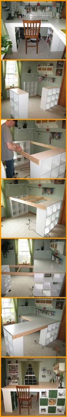 Craft table ideas sewing rooms bookcases 40 Super Ideas - Image 7 of 20 Craft Desk, Craft Room Storage, Craft Organization, Craft Rooms, Storage Ideas, Craft Tables, Storage Shelves, Room Shelves, Small Storage