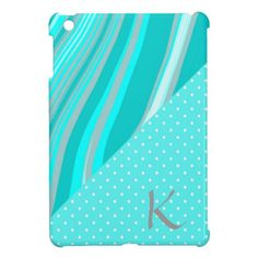 Chic Teal Polka Dots Stripes Trendy Monogram iPad Mini Covers