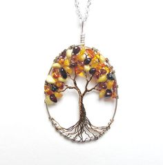 Baltic Amber Tree of Life Necklace GENUINE Amber by HomeBabyCrafts