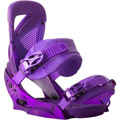 Burton uses the best technology and innovations to make some of the best snowboard bindings around, along with the best snowboards and boots. Of snowboarding brands, Burton is a binding leader. Snowboard Bindings, Snow Gear, Snowboarding Women, Snow Fun, Ski And Snowboard, Ski Ski, Snowboard Equipment, Winter Sports, Purple