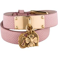 Pre-owned Dolce & Gabbana Leather Wrap Bracelet ($245) ❤ liked on Polyvore featuring jewelry, bracelets, leather bangle, pink jewelry, clover jewelry, pink bangles and leather charm