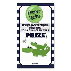 Alligator Baby Shower DIAPER RAFFLE TICKETS Blue Business Card Templates