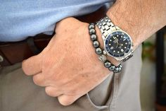 Unisex Bracelet with Hematite beads and Sterling Silver. Bracelets For Men, Fashion Bracelets, Beaded Bracelets, Yoga Bracelet, Trendy Jewelry, Gifts For Father, Boyfriend Gifts, Sterling Silver Bracelets, Gemstone Beads