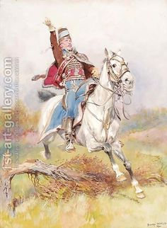 A French cavalryman on horseback Jean Baptiste Edouard Detaille | Oil Painting Reproduction | 1st-Art-Gallery.com