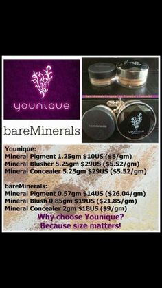 Younique vs Bare Minerals Buy off the Pinterest Party