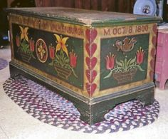 Wooden Chest with hearts and tulips.