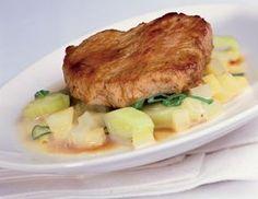 Kalbsrückensteak mit Kartoffel-Lauch-Ragout - Rezept - ichkoche.at