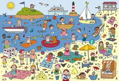 Naar het strand by Anne Van Der Pol Spanish Practice, Vocabulary Practice, Teaching Spanish, Teaching English, Orla Infantil, Communication Orale, Picture Composition, Picture Writing Prompts, Hidden Pictures