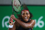Serena Williams of the United States plays a backhand during the Women's Singles second round match against Alize Cornet of France on Day 3 of the Rio 2016 Olympic Games at the Olympic Tennis Centre on August 8, 2016 in Rio de Janeiro, Brazil.