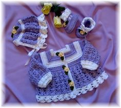 Heather Baby Sweater, Bonnet and Booties Crochet Pattern