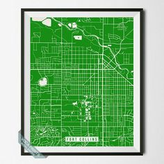 FORT COLLINS, COLORADO STREET MAP PRINT by Voca Prints! Modern street map art poster with 42 color choices. Perfect for anyone who loves to travel or is away from home.