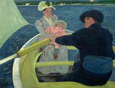 The Boating Party Mary Cassatt 1893-94  Cassatt was an American painter and printmaker. She was born in Pennsylvania but lived much of her adult life in France where she first befriended Edgar Degas and later exhibited among the Impressionists. Cassatt often created images of the social and private lives of women with particular emphasis on the intimate bonds between mothers and children.  Mary Cassatt painted this work during a stay at Antibes on the Mediterranean coast of France. Under its…
