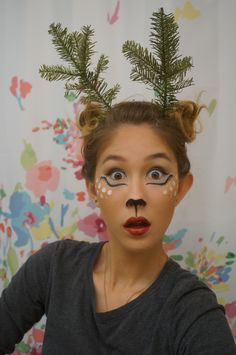 reindeer makeup lashes red nose rudolph facepaint