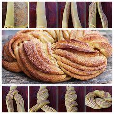Estonian braided cinnamon bread called a kringel. Just Desserts, Dessert Recipes, Bunny Bread, Bread Recipes, Cooking Recipes, Spinach Pie, Cinnamon Bread, Cinnamon Twists, Cinnamon Rolls