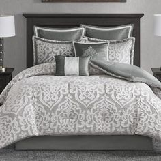 House of Hampton Tess 8 Piece Comforter Set Size: California King Designer Comforter Sets, King Comforter Sets, Luxury Bedding Sets, Duvet Sets, Duvet Cover Sets, Red Comforter, Ruffle Bedding, Bedspread, Houses
