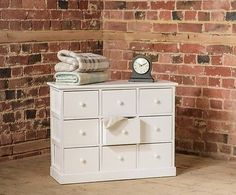 Small nine #drawer white wooden storage chest of ##drawers unit #bedroom furniture,  View more on the LINK: http://www.zeppy.io/product/gb/2/371356605222/