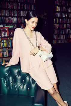 How Actress Julia Goldani Telles Thinks Coco Chanel Would Live Today: We quizzed her on how *she* thinks Gabrielle (AKA Coco) Chanel would live today, and how we can all steal a bit of that glamour. -- Chanel blush pink matching suit. | Coveteur.com