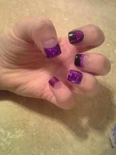 Purple & Black Glitter Nails