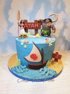 Gluten Free Moana chocolate cake filled and covered in buttercream. Tags: Cakes Free From, Gluten Free, Dairy Free, Egg Free, Nut Free, Moana Cake, Birthday Cake, Vegan Birthday Cake.