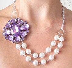 Bridal Jewelry Purple Necklace Statement Wedding by zafirenia