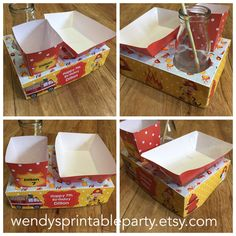 Firefighter Themed Party Food Lunch Box with Hotdog Tray & Popcorn Box (Printable by you /DIY) - Dimensions / product details in description by WendysPrintableParty on Etsy