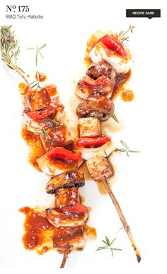 BBQ Tofu Kabobs - light and luscious for summer grilling. {recipe}