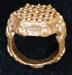 RingRing Date: 12th–13th century Geography: Iran Culture: Islamic Medium: Gold; cast, engraved, granulation