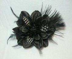 Black Dahlia Feathers Flower Hair Clip